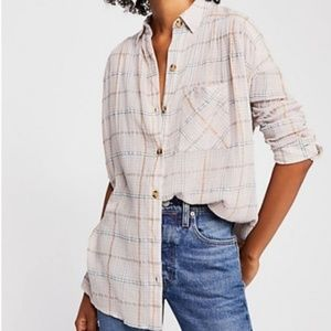 Free People Plaid Button Up High Low Tunic Top